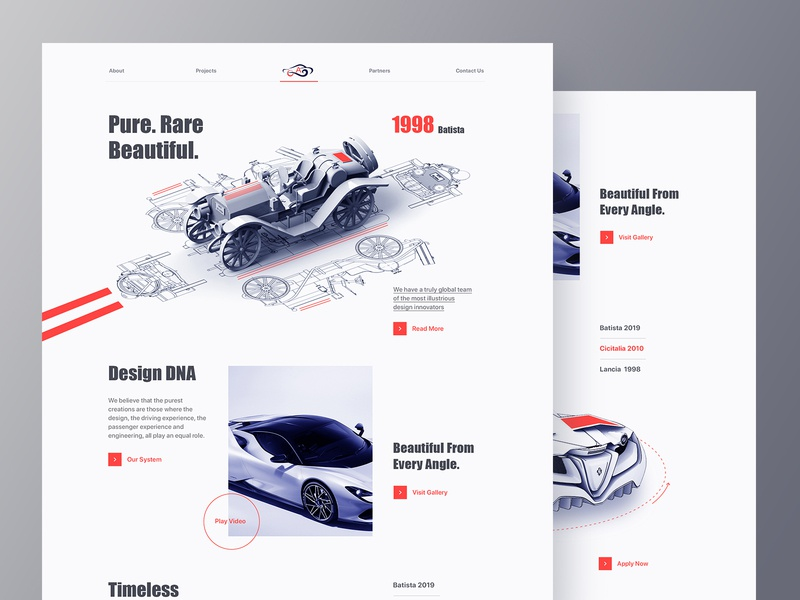 Automotive Design Company Web rental porsche bmw ferrari sport car booking vehicle automotive website landing page ui ux design website layout clean minimal automation product design industrial design car design automotive design 3d