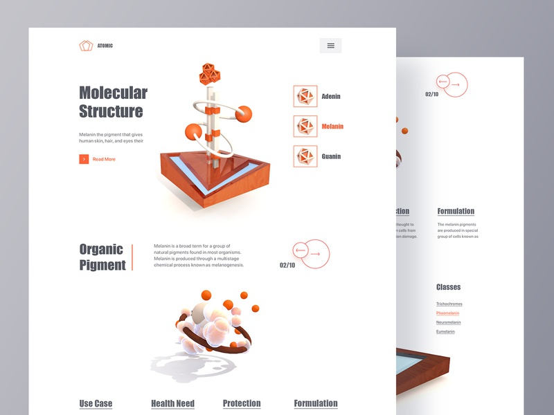 Molecule Synthesize Web UI dna science virtual reality element ui ux design c4d clean minimal design web website landing page layout organic product design industrial design atomic design molecule chemical engineering 3d