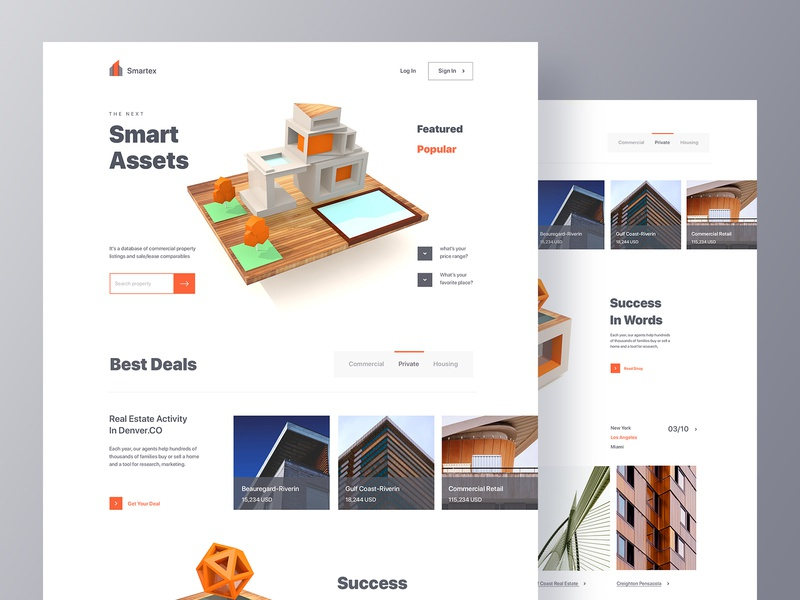 Real Estate Website real estate agency homepage ui ux design architecture renting minimal layout clean 3d landing page website commercial real estate hotel booking marketing agency investment management property search property agency website real estate