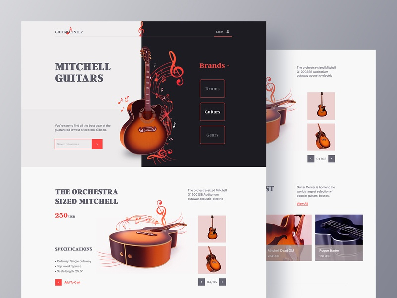 Musical Instrument Webstore marketing music app stylish music player musician online store ui ux design web design layout minimal clean guitar product design ecommerce landing page website instruments music 3d