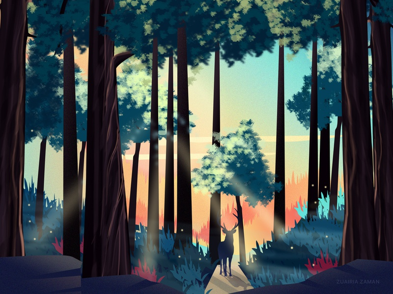 Forest Walk cover homepage design colorful deer sunset game assets game game design game art environment art environment design nature illustration woods walk jungle forest design landing page vector illustration