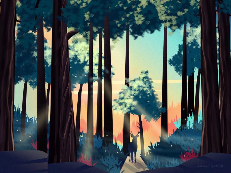 Forest Walk cover homepage design colorful deer sunset game assets game game design game art environment art environment design nature illustration woods walk jungle forest design landing page vector illustration