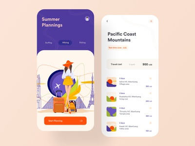 Trip Planner layout application ecotourism tour adventure design card blog mobile app design ui ux summer minimal search rental hotel booking travel app trip planner ios app illustration