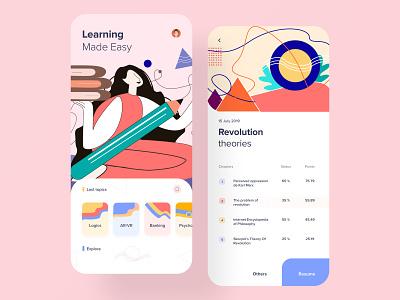 E-learning App vector graphics art ui  ux product design study design card layout minimal flat design student app app design ios elearning online courses learning platform learning app course app illustration