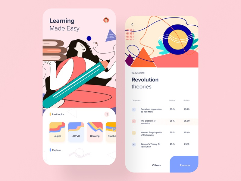 E-learning App vector graphics art ui  ux product design study design card layout minimal flat design student app app design ios elearning online courses learning platform learning app course app illustration