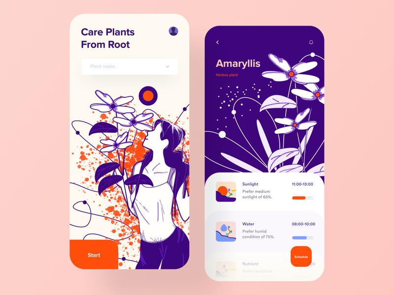 Plant Care App smart calender ai analytics ui  ux eco green tech card layout flat  design minimal shop plants plant app product design ios mobile app design app design illustration
