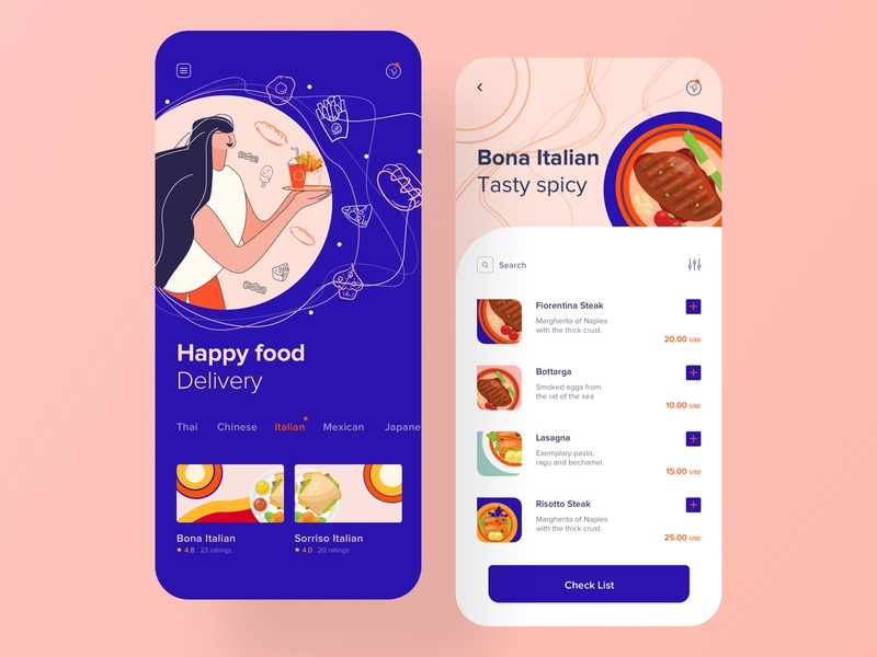 Food Delivery App order cook cafe grocery ios restaurant card clean cart illustration ui ux delivery list search burger design mobile app design food delivery app food app app