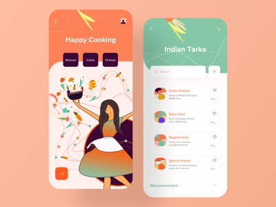 Cooking App product design clean design class food delivery app learning app card ui  ux recipes food food app restaurant recipe book recipe app ios mobile app design app cookbook cooking vector illustration