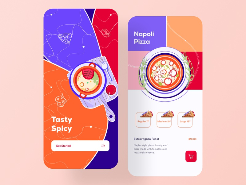 Food App card cart design clean cook snacks pizza cafe ui  ux online store grocery restaurant order mobile app design ios app design delivery app food delivery app food app illustration