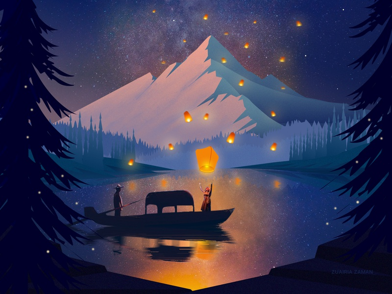 Lanterns culture hero image header illustration travel woods night sky celebration nature illustration lake game assets game design game environment art environment design cover design colorful chinese new year lanterns lantern festival illustration