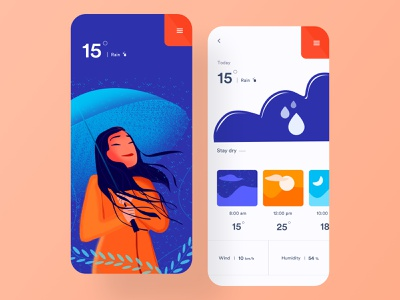 Weather app cloudy clothes update day sunny rain ui  ux ios app clean minimal cloud color card mobile app design app design weather forecast weather weather app illustration