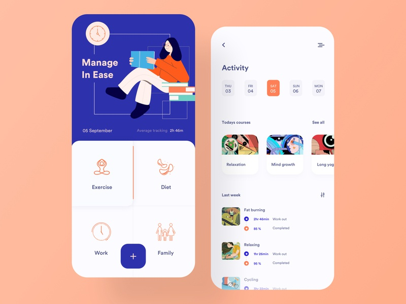 Activity Tracker task manager to do app meditation app habit tracker layout card clean minimal product design design ui ux user vector health care mobile app design ios app design tracking app fitness app activity illustration