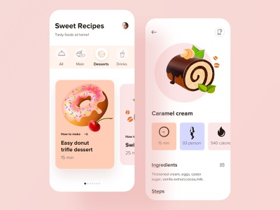 Recipe App Design book dish cuisine recipe search order restaurant cook grocery color flat design minimal clean ui  ux food delivery app ios card food app mobile app design app design