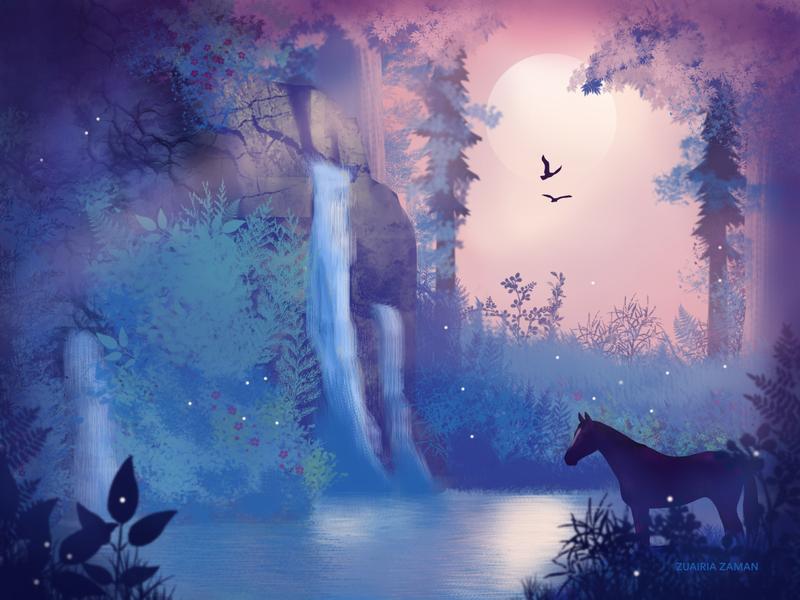 Midnight Moon design vector cover art hero image emotion travel woods nature illustration color lake concept art game assets game game art environment art environment design illustration
