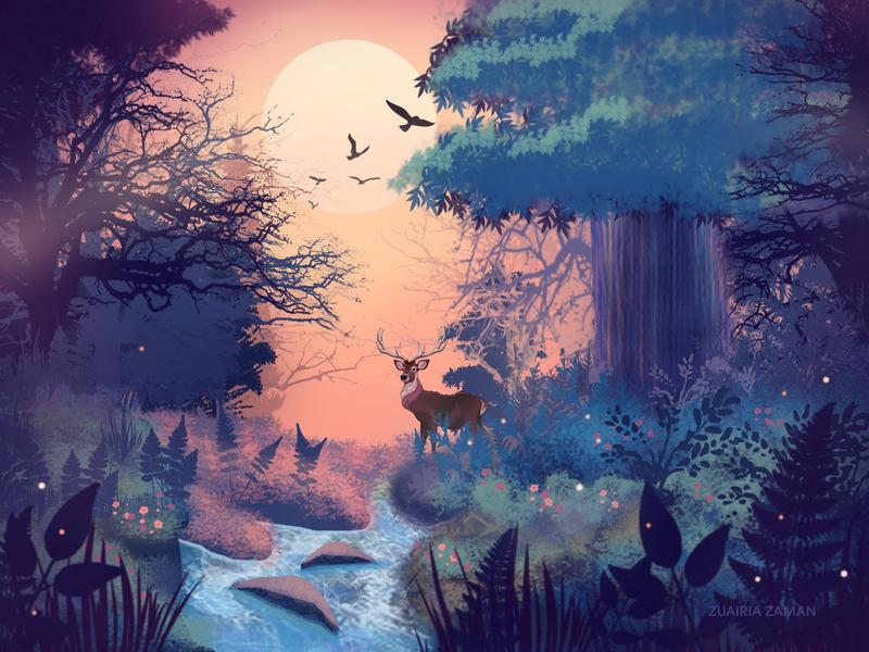 Morning Glow woods sunrise forest wilderness header illustration homepage colorful design jungle game assets digital art hero image nature illustration environment art environment design game game design game art concept art vector illustration