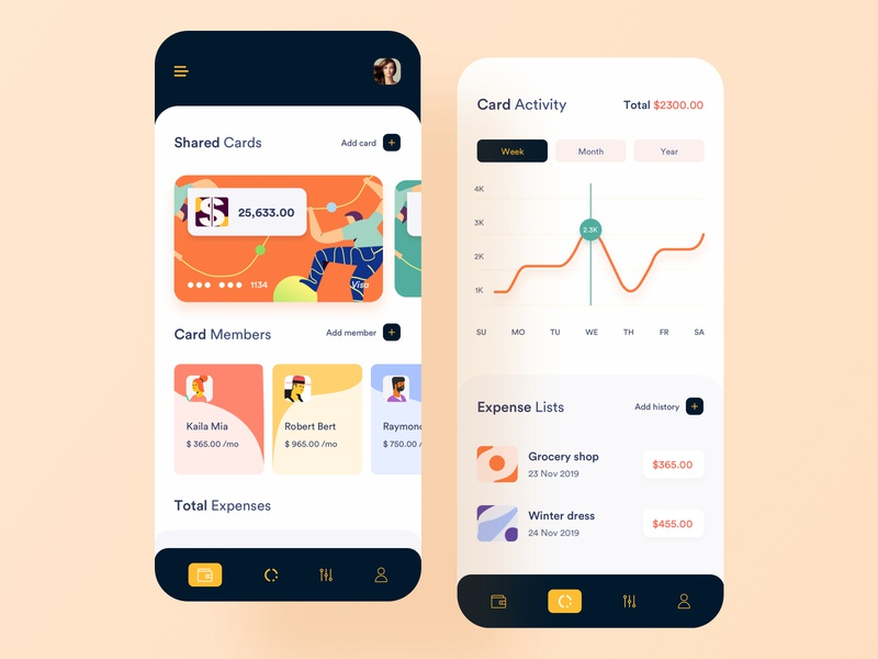 Shared Credit Card minimal clean card illustration design ui  ux wallet app transaction payment app money app credit card account bank banking app mobile app design app