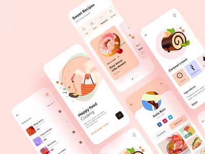 Recipe App UI flat design food app ui  ux layout card clean minimal order grocery dish cuisine ios design app design mobile app design recipe restaurant app cook food delivery app recipe app