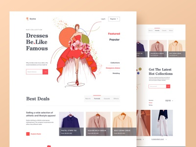 Clothing Store Web UI web design home page layout ui  ux product design women ecommerce shop boutique dresses web fashion online store clothing ecommerce clean minimal design website landing page illustration
