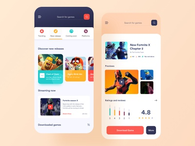 Game Store App Concept streaming app search interface play station store game app layout ui  ux app purchase online store play store app store game store ios clean minimal card design app design mobile app design