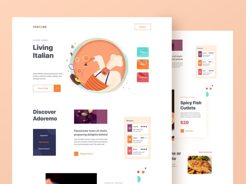 Restaurant Website home screen cook minimal clean interface order kitchen ui  ux web design delivery website food delivery restaurant homepage homepage design layout card design illustration landing page website