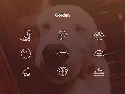 Dog Icon dog pet golden retriever icon bone toy dog food bell