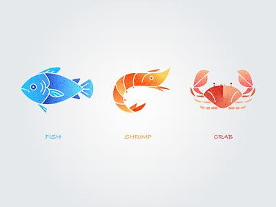 Seafood fish seafood logo illustration icon foodie shrimpcrab