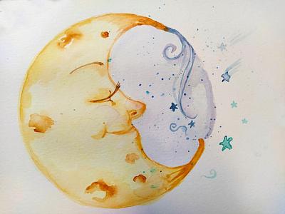 sleeping moon drawing ink cute sweet art painting books stars sky night magic kids art moon watercolor illustration cartoon