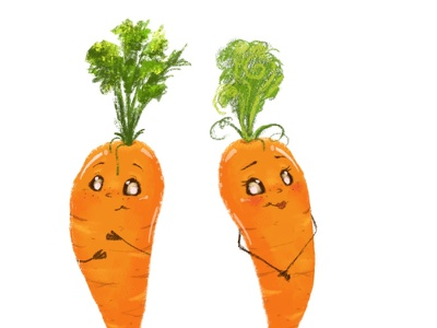 Lovely carrots artistic crayon painterly cute sweet nature vegetables cartoon illustration