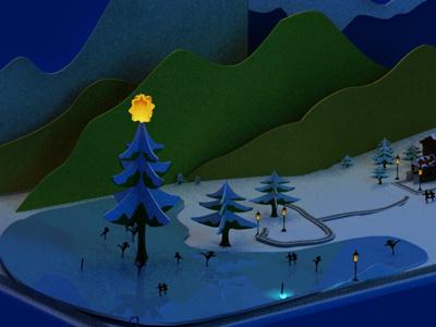 Render 3d Greeting Card christmas simple cartoon snow winter 3d