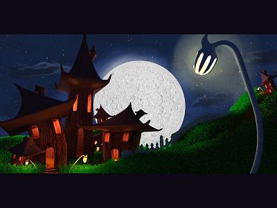3d Render From Animation Scene fairytale magical night scene 3d village fairy
