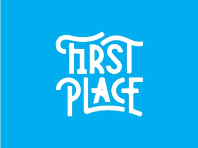 First Place Type whimsical fun typography ribbon blue win competition compete sports winning place first