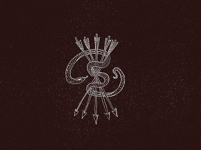 Snake Illustration medieval native tattoo hand drawn arrows snake