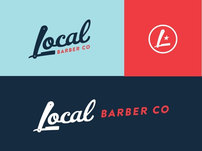 Local Barber Co | Logo System texas flat co local playful icon hair beard monogram l americana blade shop barber
