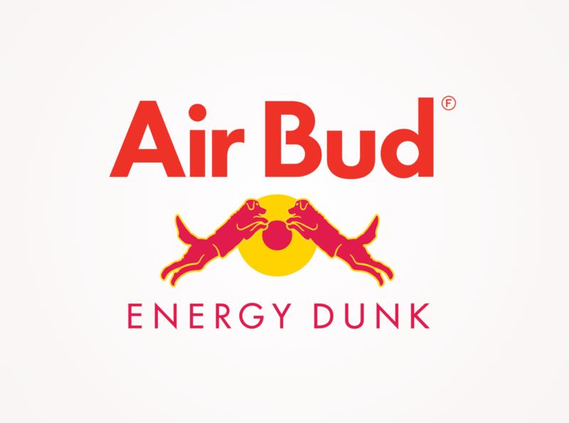 It Gives You Wins!™ energy drink basketball dog humor parody branding brand mashup red bull