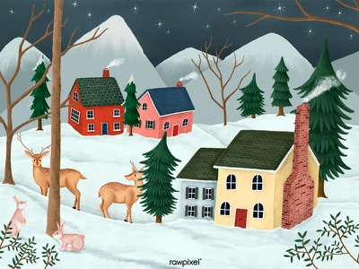 A starry night with deer and rabbits in the neighborhood. procreate ipadpro snow winter design drawing graphic illustration