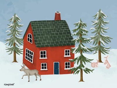 A red house surrounded by wild animals in a snowy forest