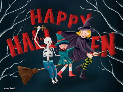 Happy Halloween with skeleton and witches.