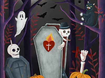 Hand drawn ghost at graveyard during Halloween. trickortreat halloween party pumpkin graveyard skeleton ghosts halloween drawing design graphic illustration