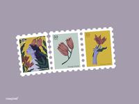 Beautiful purple woman surrounded by nature illustration