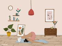 Girl doing a Halasana yoga pose sketch style vector
