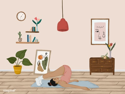 Girl doing a Halasana yoga pose sketch style vector vector girl illustration girly girl character graphic ipadpro colorpencil drawing illustration