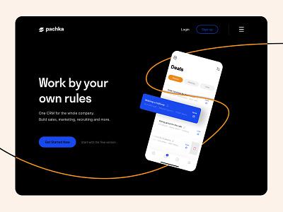 pachka - system CRM flat crm white background orange webdesign design app dark blue dark ui website design minimal web app ux ui