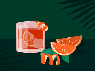 Negroni campari spritz aperol dark theme pink florence italy green orange tropical cocktail negroni vector illustration vector design vector art icon flat design vector illustration flat