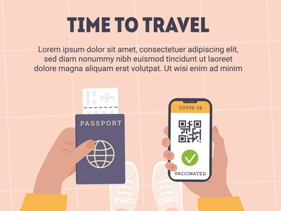 At the airport new normal travel boarding pass phone app scene cartoon flat design vector design flat vector illustration view top pink hands airport passport vaccine covid