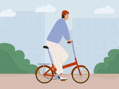 London Vibes male man outdoors park character flat vector illustration leisure commute riding ride urban trendy young city bicycle bike folding brompton