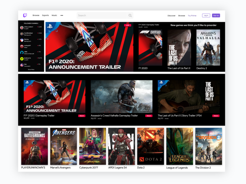 Twitch Redesign Concept