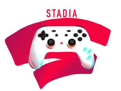 Stadia flat animation icon branding logo ipadpro clean cloud gaming stream web stadia google games galaxy ux ui illustration app design