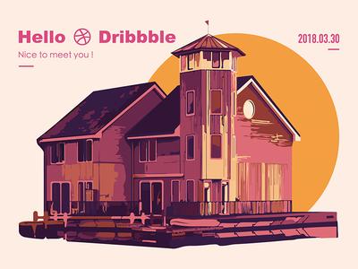 Hello Dribbble! illustration. shot. first graphic.