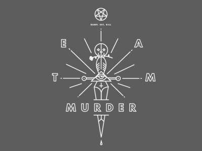 Team Murder jerseys tattoo dagger skull illustration line work