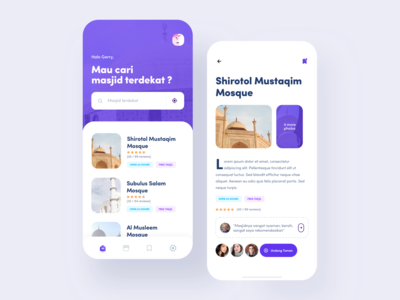 Mosque Finder App mobile finder purple app user experience user interface mobileapp clean design ux ui